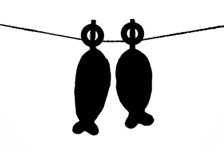 Black and white two pillows fish shape hanging on the rope