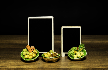 Blank price promotion board for fresh fruit and vegetable in the market Stock Photo