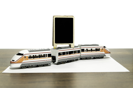 Blank black board over the model train Stock Photo