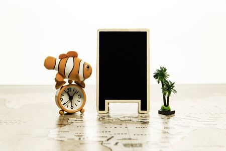 Blank black board with alarm clock and small palm tree on world map
