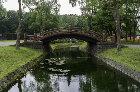 Curve bridge in the park cross small pond