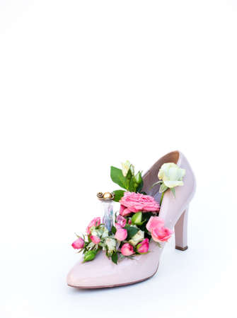 Comfortable womens shoes with middle heels with flowers on white background.