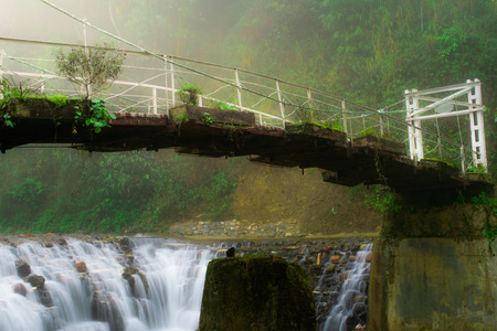 The picture of suspension bride across the river to the Cat Cat waterfall in the Cat Cat village, Sapa, Vietnam photo