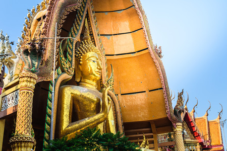 uniquely: The Great Buddha image placed in the temple is uniquely beautiful and is respected by all Buddhists. Stock Photo