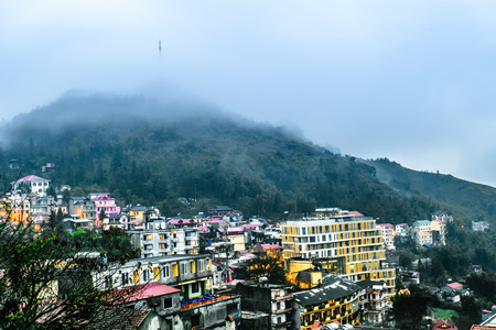 lao: View of Sapa city from the hotel in the cloudy evening, Sapa, Lao Cai, Vietnam