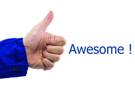 A thumbs-up gesture of human hand with word \\\\\\\\\\\\\\\Awesome\\\\\\\\\\\\\\\ photo