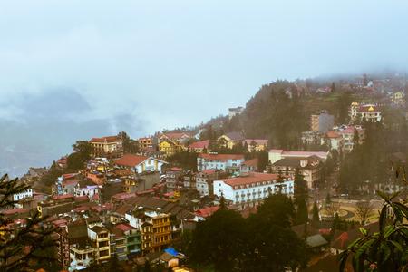 lao: View of Sapa city in the morning, Sapa, Lao Cai, Vietnam