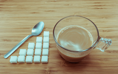 low calories: sugar level for a cup of coffee for the concept of calories control