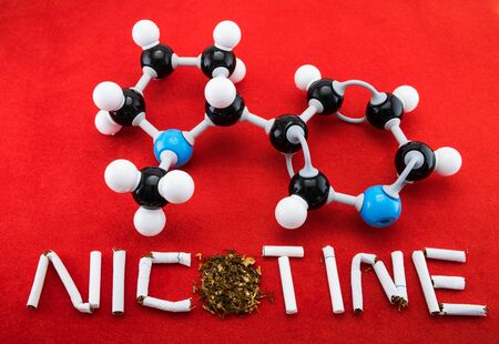 Molecular structure of nicotine with cigarette photo