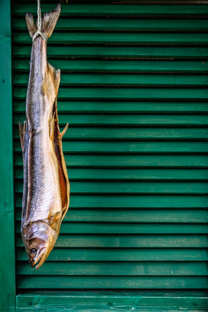 salmon fishery: Dried fish hanging in front of the green window