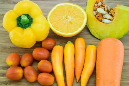 Variety of Orange color fruits and vegetables which are a good source of beta-carotene Zdjęcie Seryjne