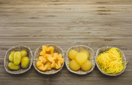 pinched: Auspicious traditional Thai desserts are also known as also known as pinched gold egg yolks From left: Met khanun, Thong yip, Thong yot, Foi thong,