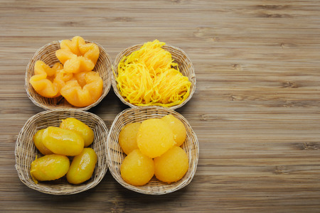 pinched: Four differnt kinds of Auspicious traditional Thai desserts are also known as  pinched gold egg yolks
