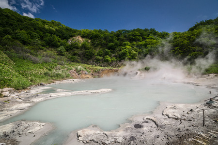 Sulfur Hot spring at Oyunuma Lake, Noboribetsu Onsen, Hokkaido, Japan