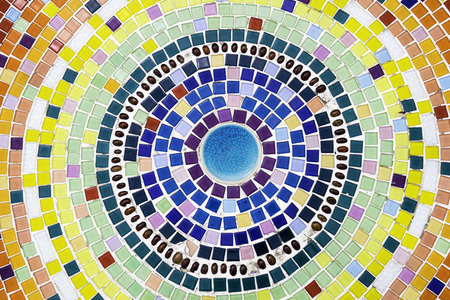 mosaic floor: Colorful Floor decoration with Mosaic and ceramic tiles