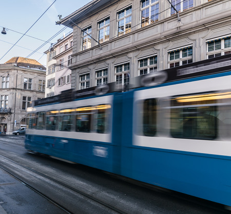 electric tram: Motion blur of electric tram in the city of Zurich, Switzerland