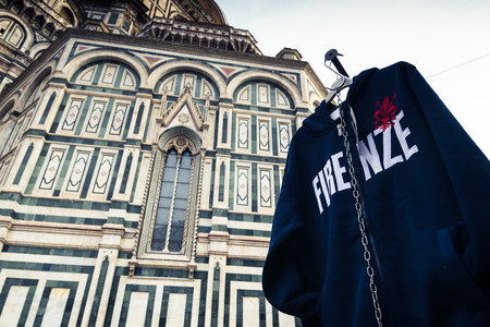 firenze: Sweater hood with Firenze word from the souvenir shop near florence cathedral Stock Photo