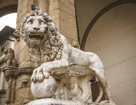 Famous Lion statue at Piazza Della Signoria, Florence, Italy