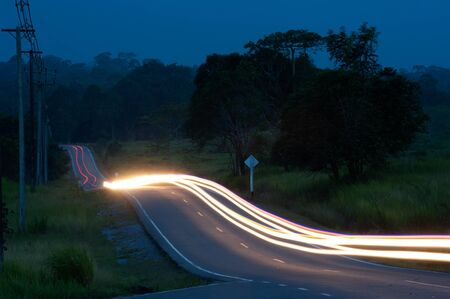 Route in National park on twilight in Thailand Stock Photo - 15030297
