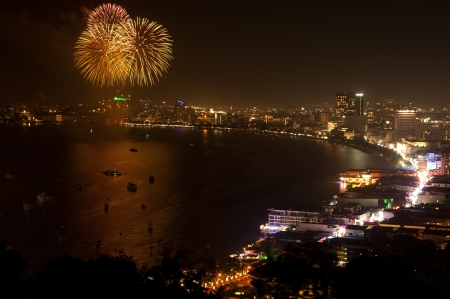 Fire work in Pattaya beach,Middle of Thailand