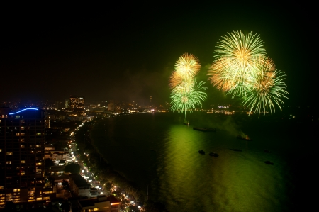 Fire work in Pattaya beach,Middle of Thailand  photo