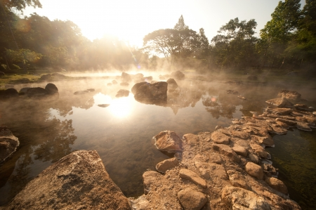 Hot spring in National park,Lampang diatrict in Northern of Thailand  Stock Photo