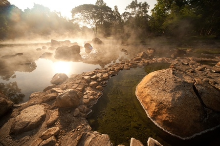 Hot spring in National park,Lampang diatrict in Northern of Thailand  Standard-Bild