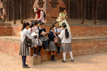 Nepalese students conversation in Bhaktapur old town in Nepal