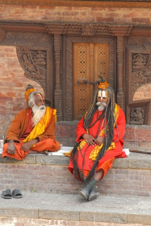 Nepalien saddhu in Kathmandu, Nepal  Sadhus, who have left behind all material attachments and live in caves, forests and temples all over Nepal   Stock Photo - 15792352