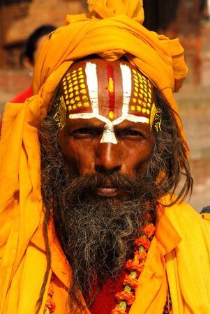 Nepalien saddhu in Kathmandu, Nepal  Sadhus, who have left behind all material attachments and live in caves, forests and temples all over Nepal   Stock Photo - 15792348