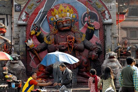 hindu god shiva: Image of the Hindu God Shiva appearing in the fearful from of Bhairub in Durbar Square Kathmandu,Nepal