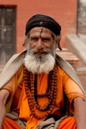 KATHMANDU,NEPAL-MAR CH 15  A Sadhu at Pashupatinath Temple in Kathmandu, Nepal on March 15, 2012  The two primary sectarian divisions in sadhu community are Shaiva sadhus and Vaishnava sadhus   Stock Photo - 15744898