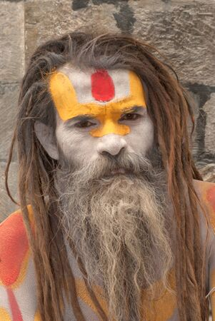 KATHMANDU,NEPAL-MAR CH 15  A Sadhu at Pashupatinath Temple in Kathmandu, Nepal on March 15, 2012  The two primary sectarian divisions in sadhu community are Shaiva sadhus and Vaishnava sadhus   Stock Photo - 15744911