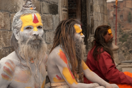 KATHMANDU,NEPAL-MAR CH 15  A Sadhu at Pashupatinath Temple in Kathmandu, Nepal on March 15, 2012  The two primary sectarian divisions in sadhu community are Shaiva sadhus and Vaishnava sadhus   Stock Photo - 15744897