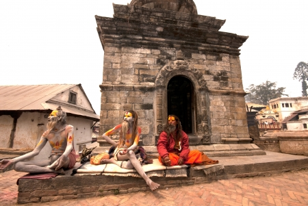 sectarian: KATHMANDU,NEPAL-MAR CH 15  A Sadhu at Pashupatinath Temple in Kathmandu, Nepal on March 15, 2012  The two primary sectarian divisions in sadhu community are Shaiva sadhus and Vaishnava sadhus