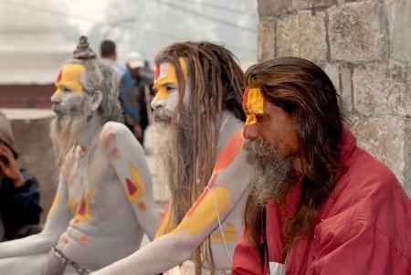 KATHMANDU,NEPAL-MAR CH 15  A Sadhu at Pashupatinath Temple in Kathmandu, Nepal on March 15, 2012  The two primary sectarian divisions in sadhu community are Shaiva sadhus and Vaishnava sadhus   Stock Photo - 15744892