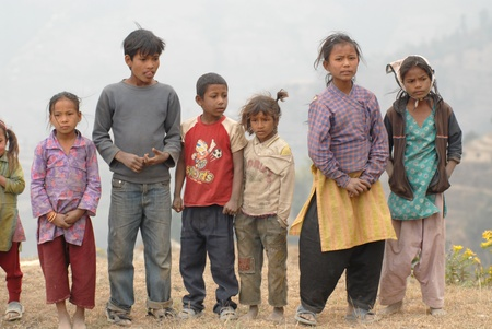 NAGAGROT, NEPAL - MARCH 16  Group of unidentified tibetan childs from village of Tibetan refugees on March 16, 2012 in Nagagrot District, Nepal