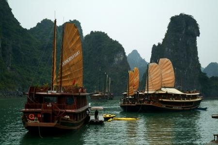 Travel boat in Halong bay in Vietnam
