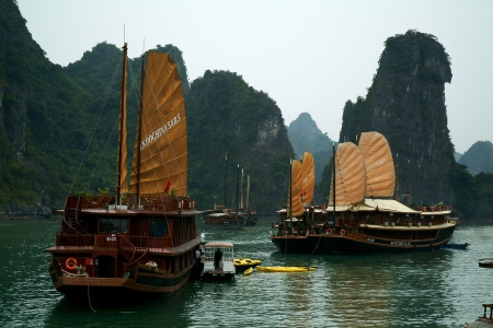 Travel boat in Halong bay in Vietnam