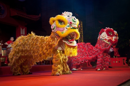 the chinese culture: Twin Chinese lion dancing  Editorial