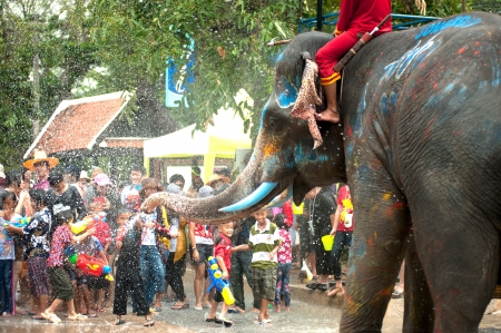 new year s day: AYUTTAYA, THAILAND - APRIL 14  Songkran Festival is celebrated in a traditional New Year s Day from April 13 to 15, with the splashing water with elephants on April 14, 2012 in Ayuttaya, Thailand   Editorial