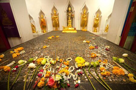 Group of ancient Buddhas in Wat Bauvornivet temple ,Bangkok in Thailand