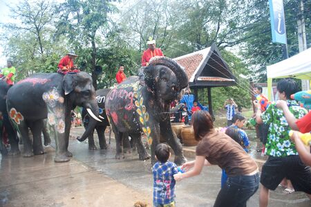 AYUTTAYA, THAILAND - APRIL-13   Songkran Festival is celebrated in a traditional New Year s Day from April 13 to 15, with the splashing water with elephants on April 13, 2012 in Ayuttaya, Thailand   Stock Photo