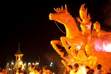 priesthood: BANGKOK THAILAND-JU NE 4 Wax carving of lord Buddha riding horse to enter priesthood in the 2600 years of Buddha enlightenment  overcome demons and passions  festival on June 4,2012 in Bangkok  Editorial