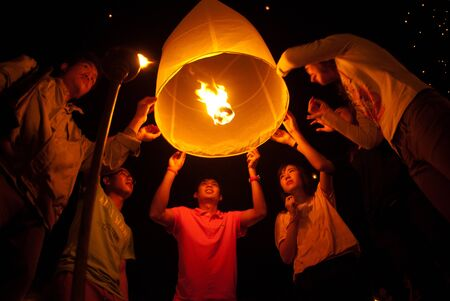 Thai peoples floating lamp in Northern of Thailand