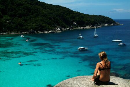 Relax on stone of Similan island , Thailand