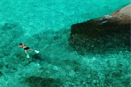 Swimming in blue sea at Similan ialand in Southern of Thailand  photo