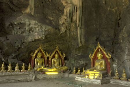 Old Buddha in cave at Petburi Province ,Middle of Thailand