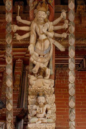 strut: Artistic roof strut, Changu Narayan temple in Kathmandu city,Nepal