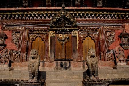 goddesses: Couple Garuda front of Ancient temple in Changu Narayan in Kathmandu city ,Nepal